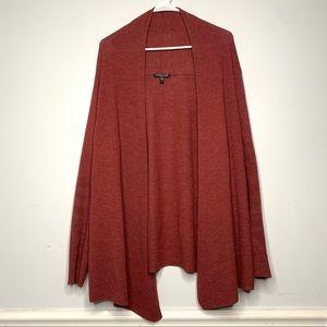 Eileen Fisher Brick Red Open Wool Cardigan Sweater